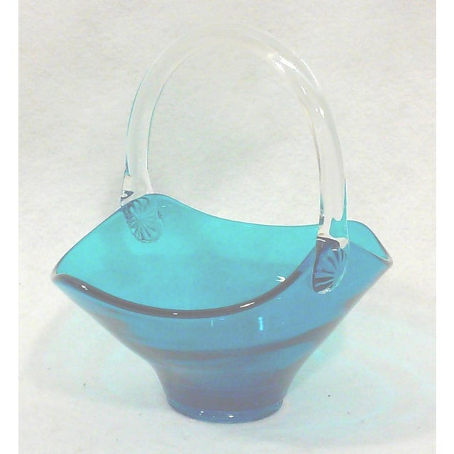Blue Art Glass Handled Bowl - Image 2 of 5