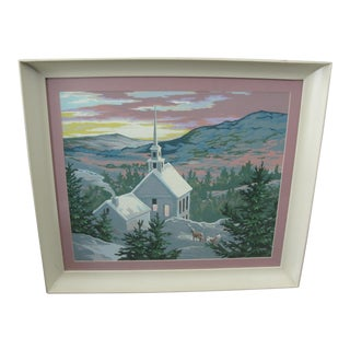 Vintage 1950's Paint by Numbers Church in Winter Painting