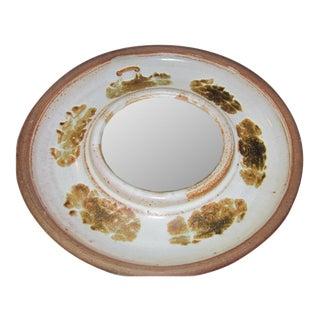 Mid Century Round Pottery Mirror
