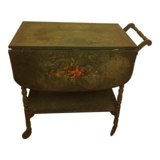 Vintage Green Drop-Leaf Serving Cart
