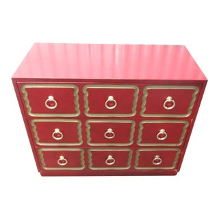 Dorothy Draper Style Red Chest of Drawers
