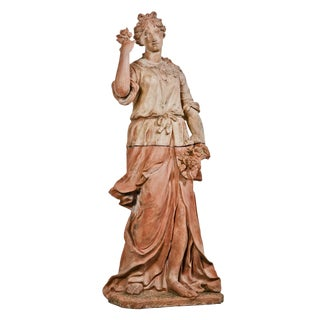 Large Italian Terra Cotta Statue Of Goddess Flora