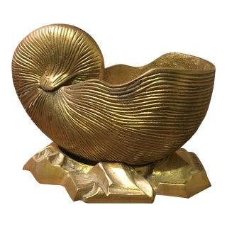 Vintage Mid-Century Brass Shell Planter