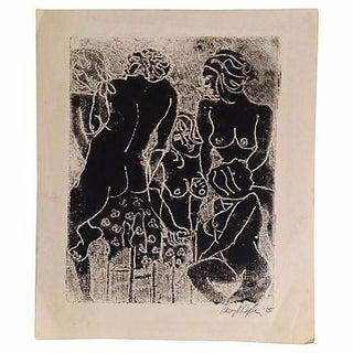 Nudes Woodblock Print
