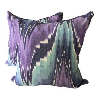 Ikat Butterfly Linen Pillows - A Pair