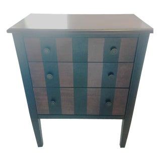 Wooden Two-Tone Stripe Nightstand