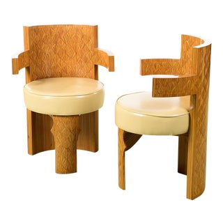Art Deco Style Barrel Chairs - a Pair