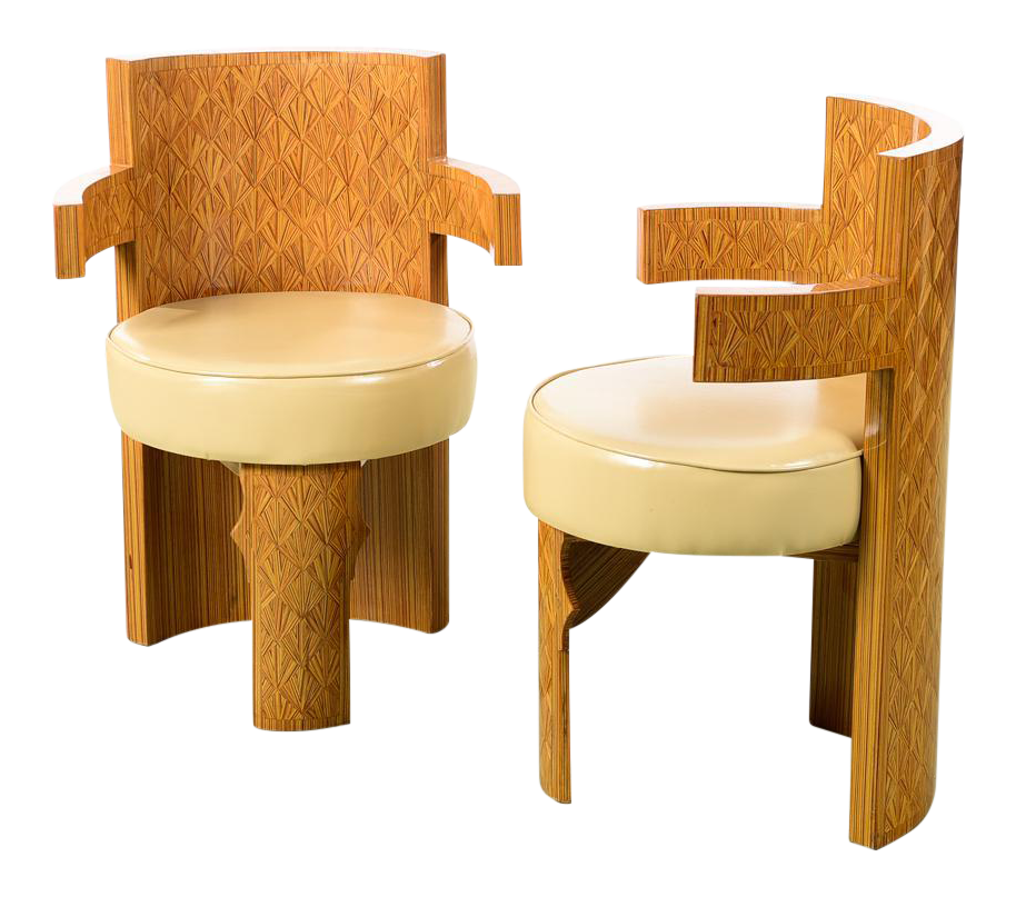 Art Deco Style Barrel Chairs   A Pair