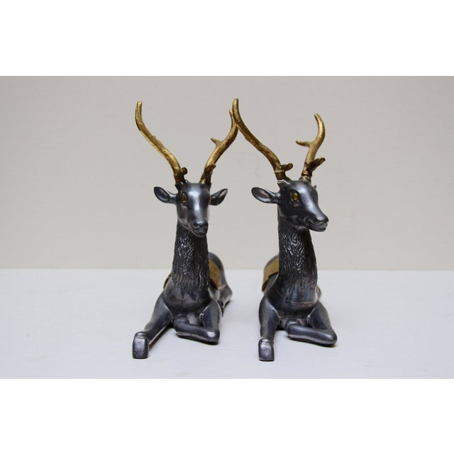Pewter & Brass Seated Deer - A Pair - Image 5 of 5