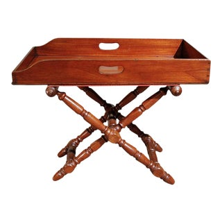 English Mahogany Butler's Tray on Stand