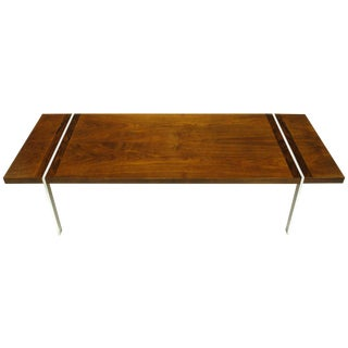 Chrome, Walnut and Rosewood Tripartite Coffee Table by Lane