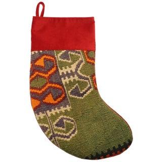 Vintage Green Kilim Christmas Stocking