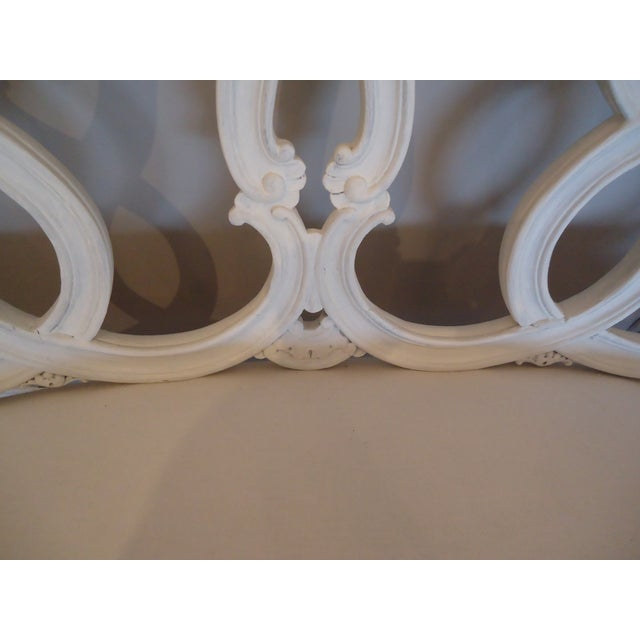 Vintage French Painted Carved Wood Loveseat - Image 3 of 4