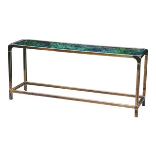 Mastercraft Regency Glass & Brass Console Table