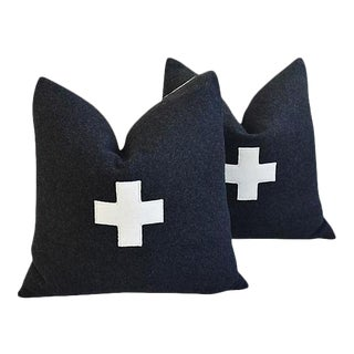 """21"""" Custom Tailored Charcoal Appliqué Cross Wool Feather & Down Pillows - a Pair"""