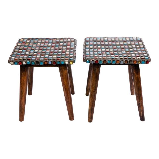 Tiled Teak Side Tables - A Pair - Image 1 of 6