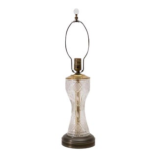 Cut Glass Lamp with Glass Ball Finial