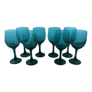 Teal Wine Glasses - Set of 8