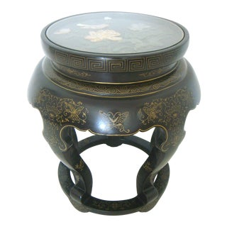 Vintage Black Lacquer Inlaid Drum Stool/Side Table