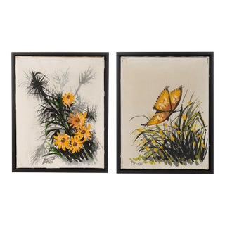 Pair of Mid-Century Butterflies & Flowers Oil Paintings, Signed