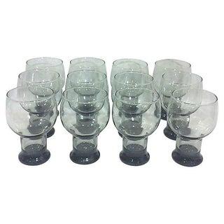 Midcentury Smoked Glass Glassware - Set of 12