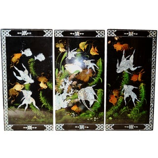 Chinoiserie Mother-of-Pearl  Koi Triptych