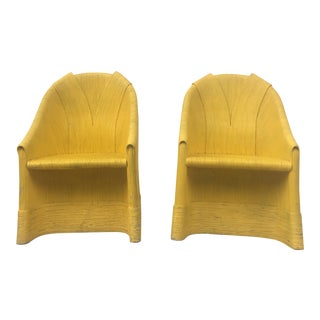 Vintage Pair of Yellow Split Reed Rattan Accent Chairs