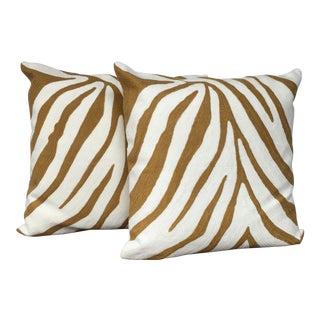 Crewel Zebra Pillows - A Pair