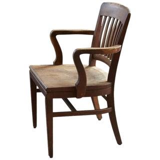 1920s Solid Oak Office Armchair by W.H. Gunlocke Chair Co, Wayland, NY