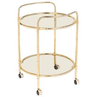 Maison Baguès Mid-Century Brass Faux Bamboo Bar Cart