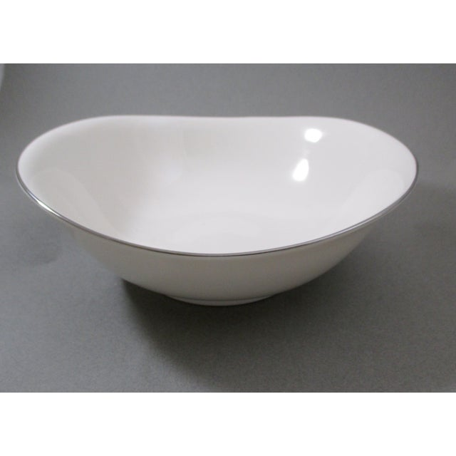 Image of Vintage Platinum Trim White China Bowls - A Pair