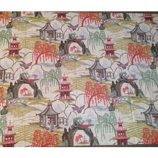 Robert Allen Neo Toile Print Fabric in Coral -1 Yd