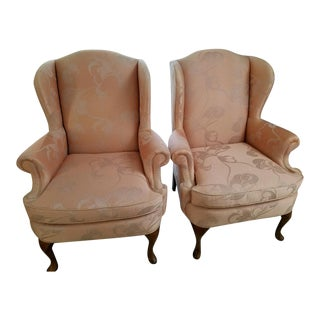 Hickory Craft Queen Anne Style Wingback Chairs - A Pair