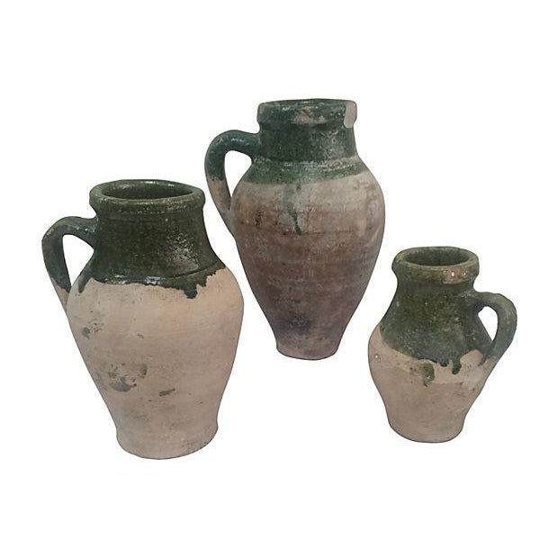 Image of Glazed Pottery Olive Jars - Set of 3