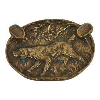 Antique Bronze Hound Ashtray
