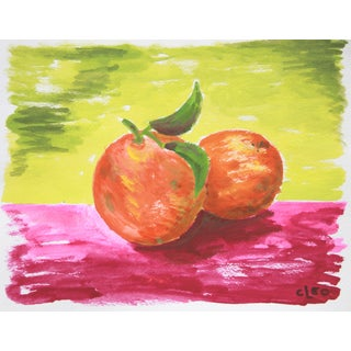 """Orange Pair"" Abstract Fruit Still Life by Cleo"
