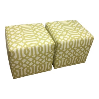 Kelly Wearstler Imperial Trellis Citrine Ottomans - A Pair
