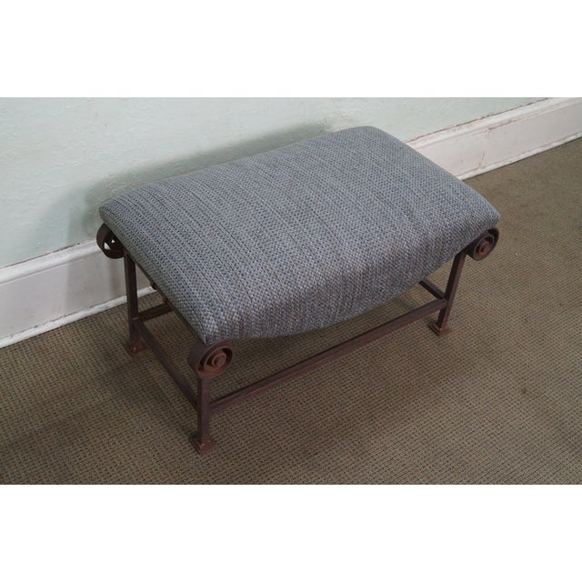 Rustic Scrolled Iron Frame Window Bench - Image 3 of 10