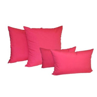 Preppy Hot Pink Outdoor Pillows - Set of 4