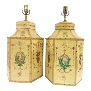 Chinese Export English Tea Caddy Lamps - A Pair