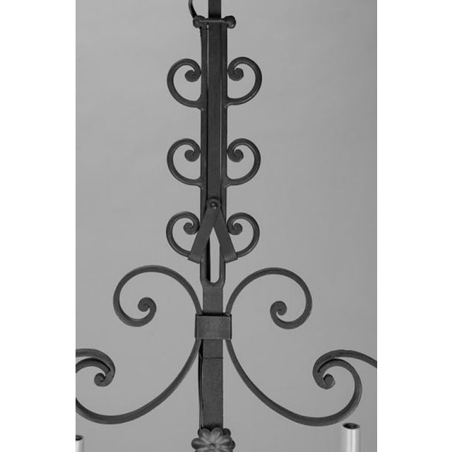 French 6-Light Green Wrought Iron Chandelier - Image 4 of 5