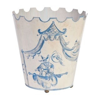 Toile Pail Painted in Blue and White