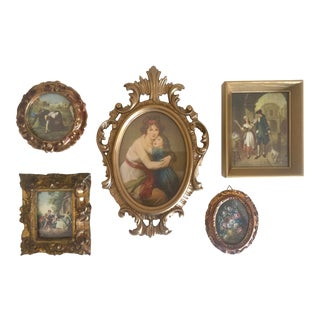 Vintage Mid-Century Florentine Gilt Framed Art Pieces- Set of 5