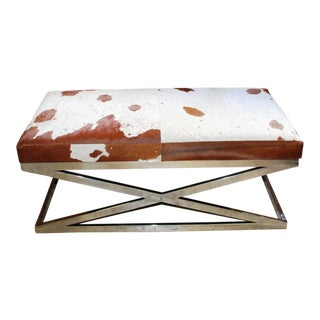 Taylor Burke Home Chrome Bench with Brown & White Cowhide