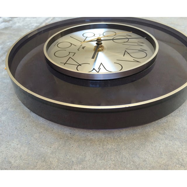 Vintage 1970's Smoked Lucite Wall Clock - Image 3 of 4