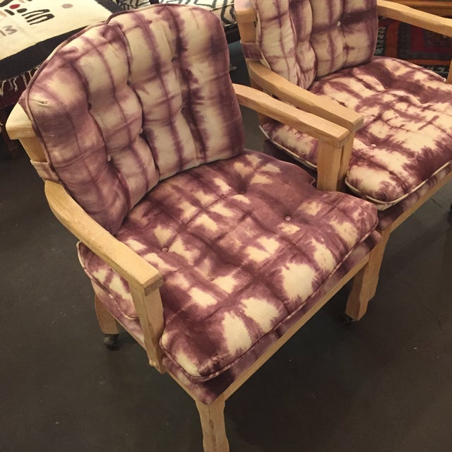 Vintage Lined Wood Armchairs on Casters - A Pair - Image 4 of 10