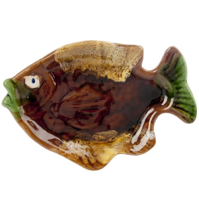 Vintage French Majolica Fish Dish - Image 1 of 3
