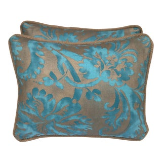 Transitional Fortuny Blue & Gold Pillows - A Pair