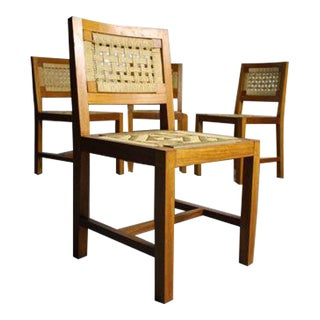 Mid-Century Teak Woven Dining Chairs - Set of 4