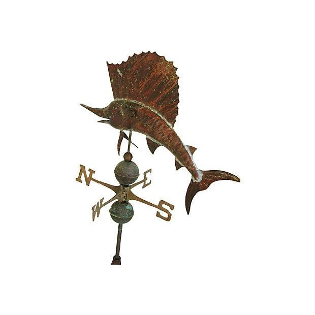 Vintage Copper Sailfish Weathervane with Stand - Image 5 of 7